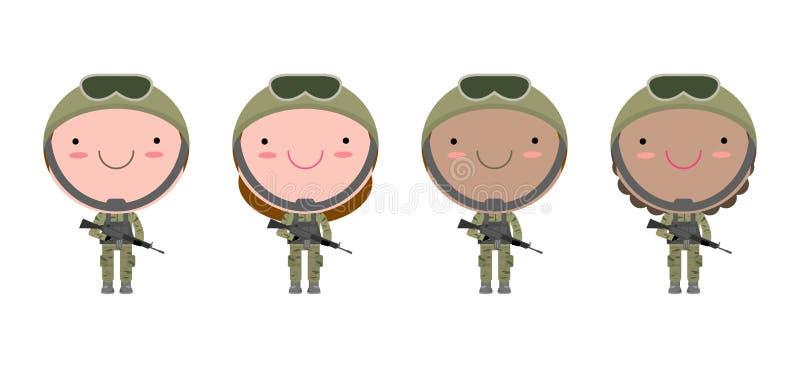 Reeks militairen Mannen en vrouwen het vlakke die ontwerp van het beeldverhaalkarakter op witte achtergrond wordt geïsoleerd Ons  vector illustratie