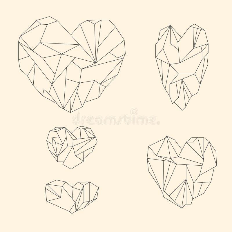 Reeks mineraal hart-vormige kristallen stock illustratie