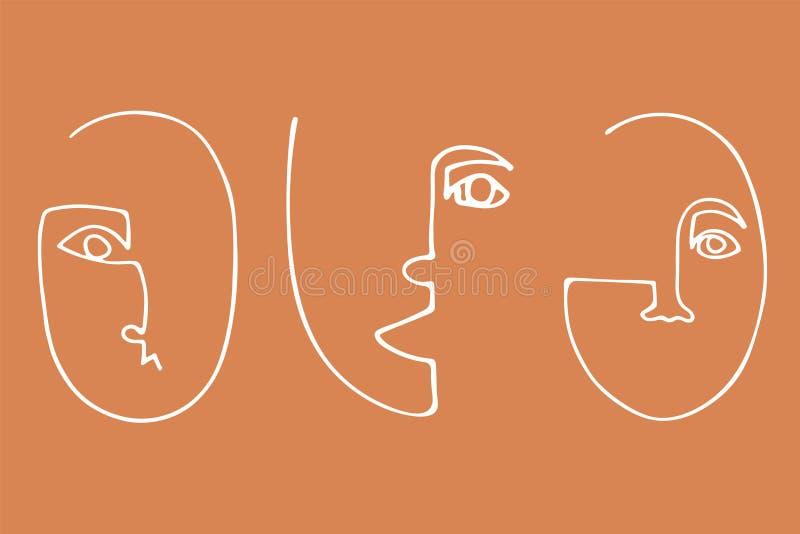 Reeks in minimalistic gezichten Abstract lineair silhouet van menselijke gezichten royalty-vrije illustratie