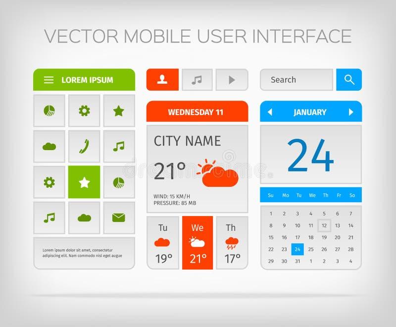Reeks mobiel gebruikersinterface en pictogrammen voor app of vector illustratie