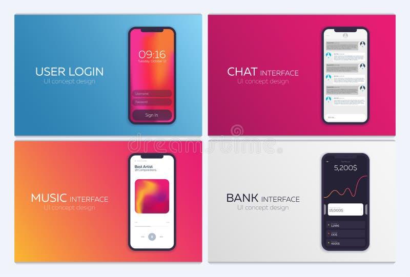 Reeks Mobiele UI-Ontwerpconcepten Bankinterface, Muziekspeler, Praatjetoepassing, Login Vector illustratie stock illustratie