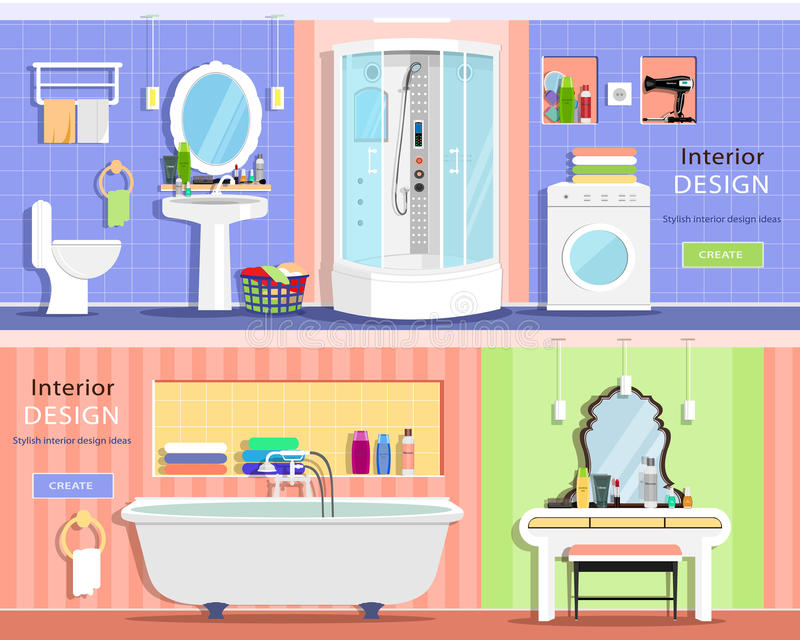 Reeks modern grafisch badkamersbinnenland: bad, douchescabine, wasbak, spiegel, toilet, toilettafel royalty-vrije illustratie