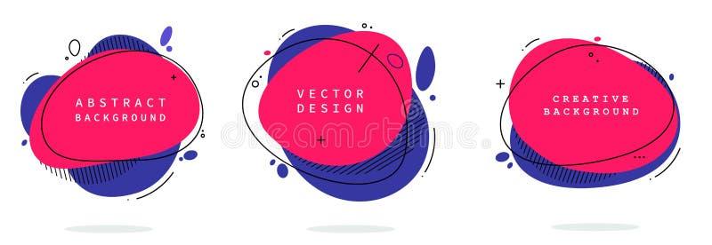 Reeks moderne abstracte vectorbanners Vlakke geometrische vormen van verschillende kleuren met zwart overzicht in het ontwerp van vector illustratie