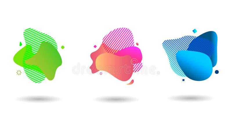 Reeks moderne abstracte vectorbanners Vlakke geometrische vormen van verschillende kleuren in moderne ontwerpstijl EPS10 royalty-vrije illustratie