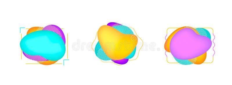 Reeks moderne abstracte vectorbanners Vlakke geometrische vormen van verschillende kleuren royalty-vrije illustratie