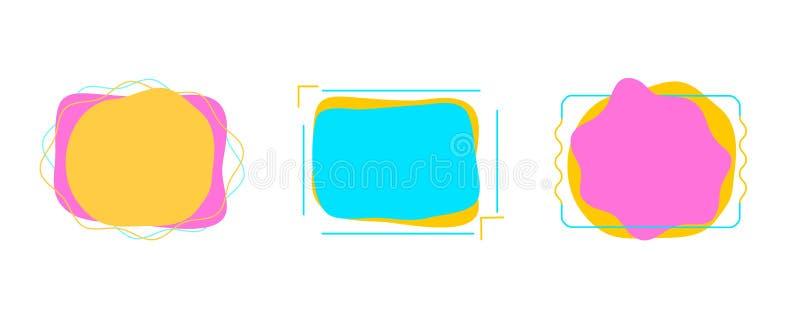 Reeks moderne abstracte vectorbanners Vlakke geometrische vormen van verschillende kleuren vector illustratie