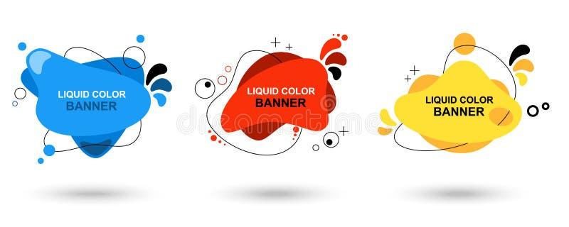 Reeks moderne abstracte vectorbanners Vloeibare kleurenbanners Vlakke geometrische vormen van verschillende kleuren met zwarte stock illustratie