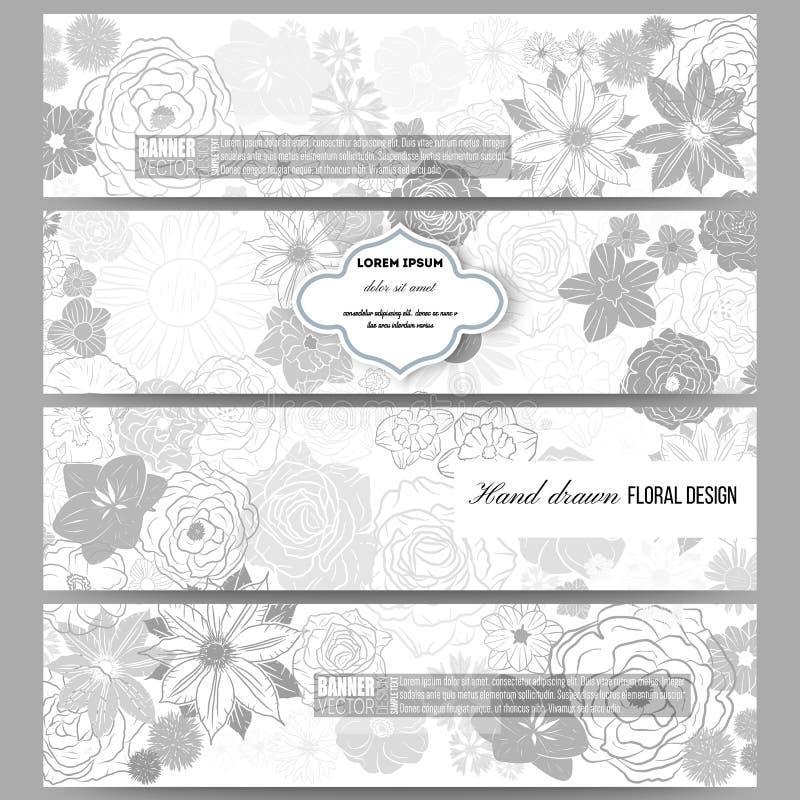 Reeks moderne banners Hand getrokken bloemenkrabbel vector illustratie