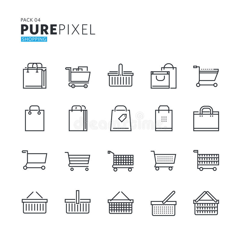 Reeks moderne dunne perfecte pictogrammen van het lijnpixel van het winkelen, elektronische handel stock illustratie