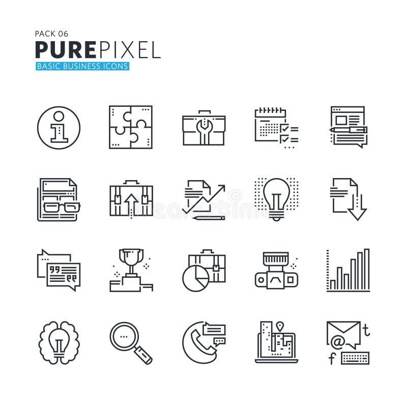 Reeks moderne dunne van het bedrijfs lijnpixel perfecte basispictogrammen vector illustratie