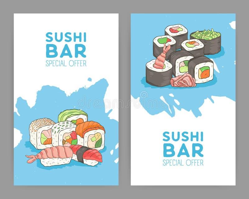 Reeks moderne heldere gekleurde vliegermalplaatjes voor Aziatisch voedselrestaurant stock illustratie