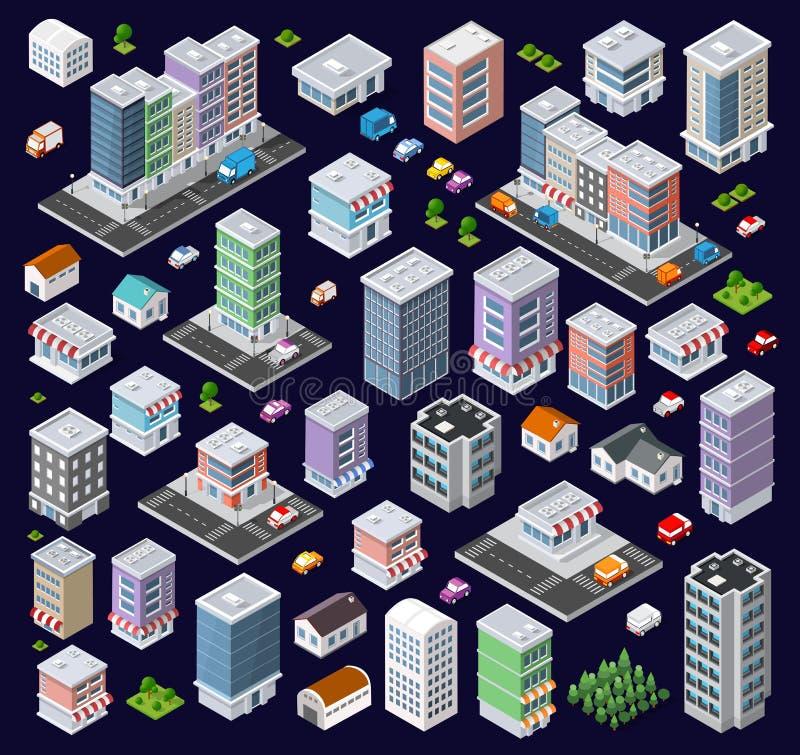 Reeks moderne isometrische gebouwen vector illustratie