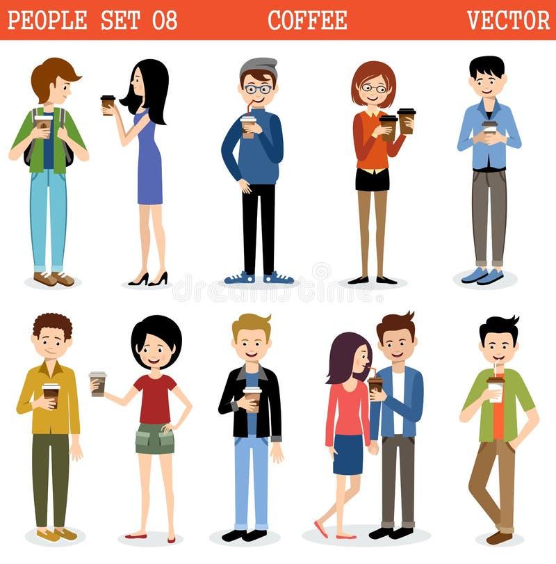 Reeks moderne mensen met document glazen koffie Vector stock illustratie