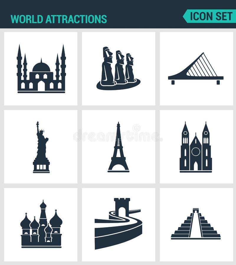 Reeks moderne pictogrammen De Moskee van wereldaantrekkelijkheden, rapanui, Brug, Standbeeldvrijheid, de Toren van Eiffel, Kerk,  royalty-vrije illustratie