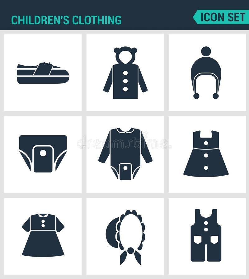 Reeks moderne pictogrammen De schoenen van de kinderens kleding, jasje, raglan, GLB, luiers, kleren, hoed, broek Zwarte tekens vector illustratie