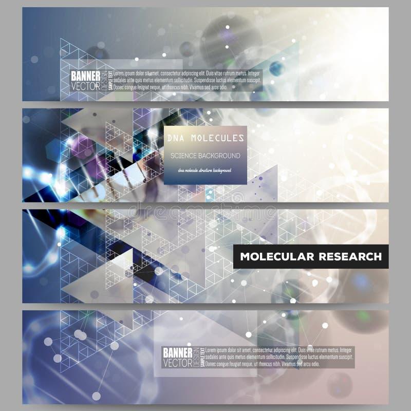 Reeks moderne vectorbanners DNA-moleculestructuur op donkerblauwe achtergrond vector illustratie