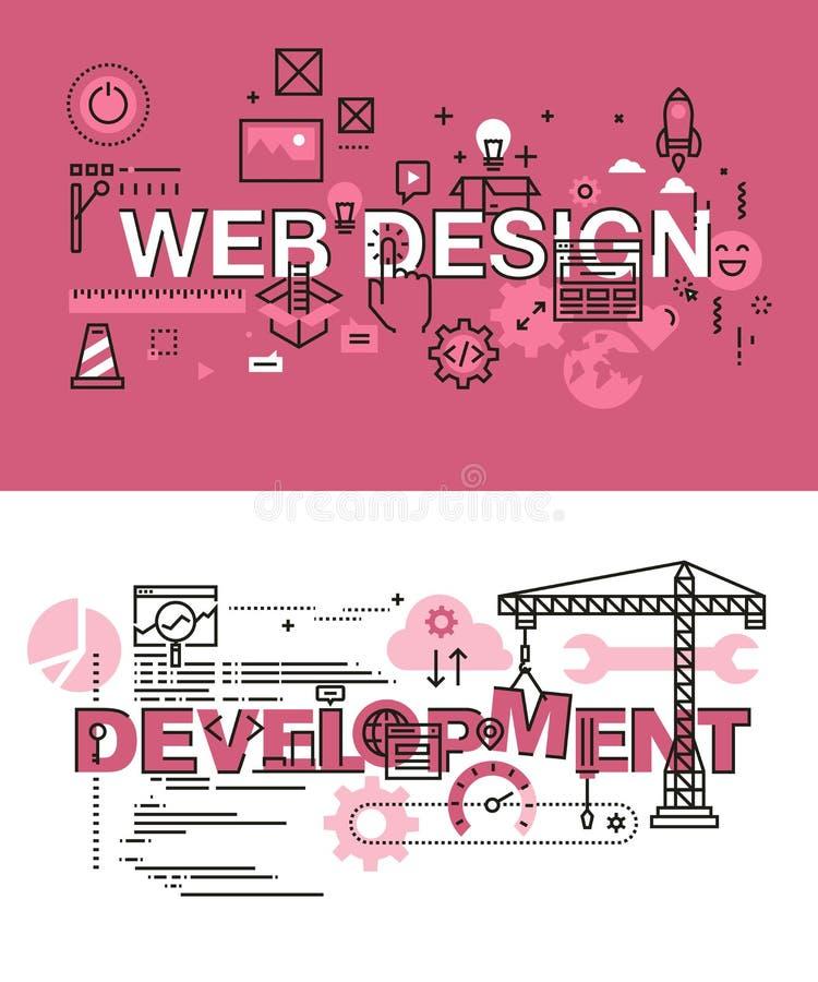Reeks moderne vectorillustratieconcepten het ontwerp en de ontwikkeling van het woordenweb vector illustratie