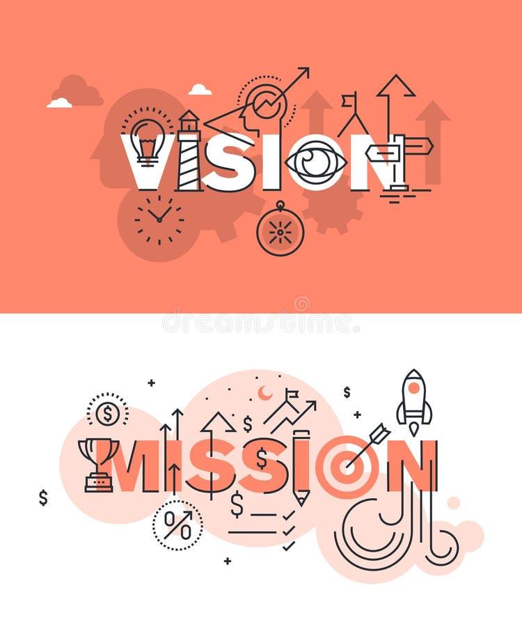 Reeks moderne vectorillustratieconcepten woordenvisie en opdracht vector illustratie