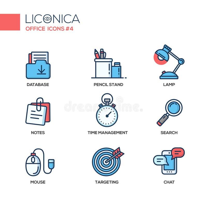 Reeks moderne vlakke het ontwerppictogrammen en pictogrammen van de bureaulijn vector illustratie