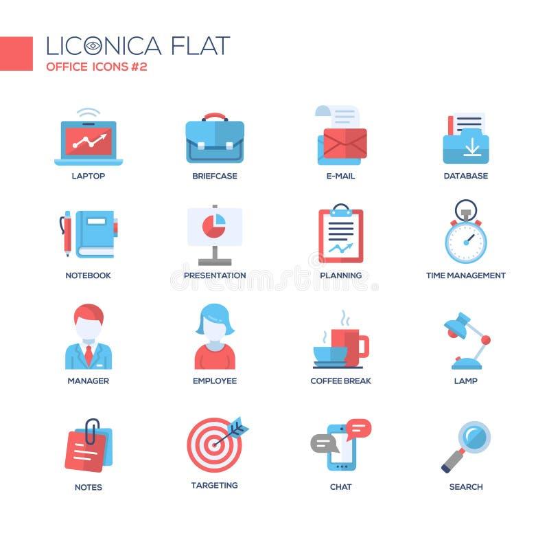 Reeks moderne vlakke het ontwerppictogrammen en pictogrammen van de bureaulijn stock illustratie