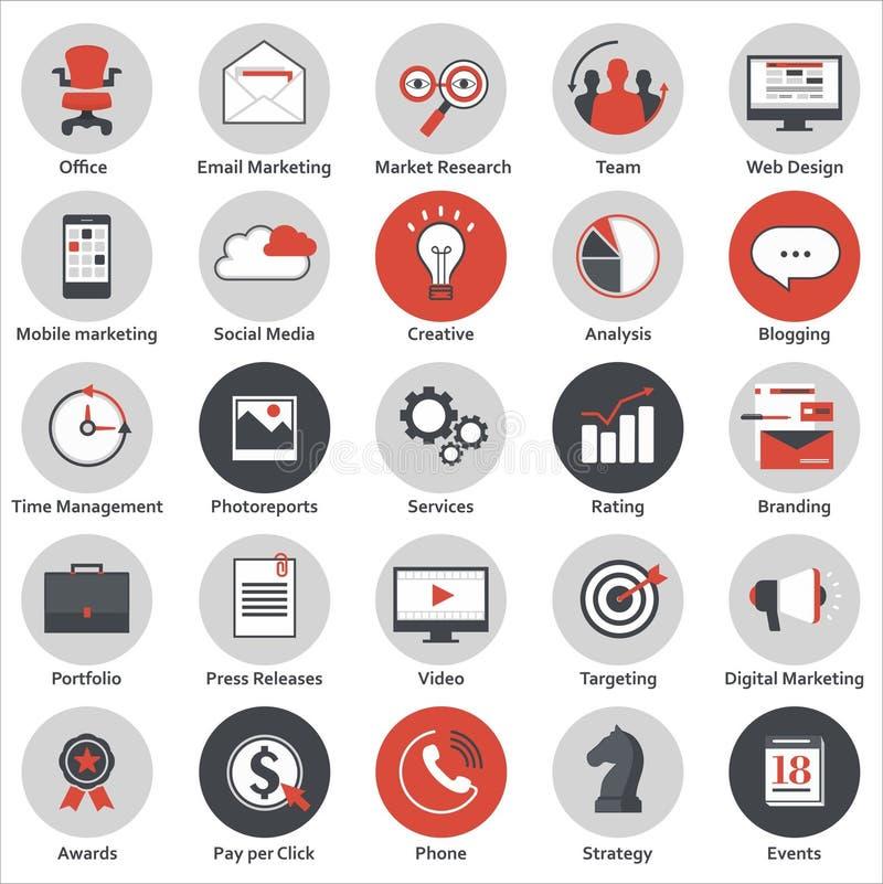 Reeks moderne vlakke ontwerppictogrammen voor de marketing, de media en de zaken van Internet vector illustratie