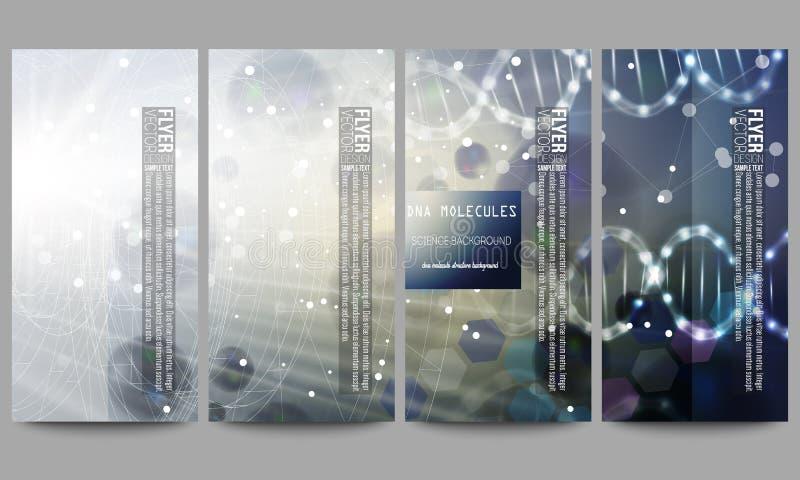 Reeks moderne vliegers DNA-moleculestructuur op donkerblauwe achtergrond Wetenschaps vectorachtergrond royalty-vrije illustratie