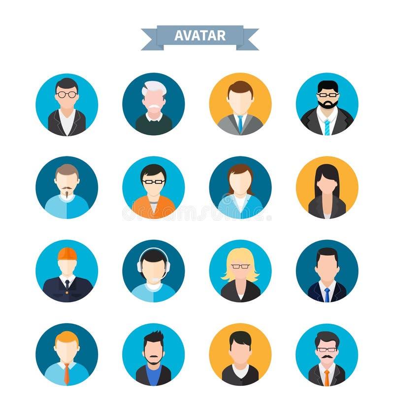 Reeks modieuze avatars man en vrouwenpictogrammen royalty-vrije illustratie