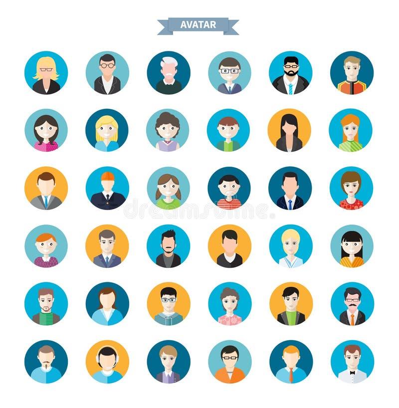 Reeks modieuze avatars man en vrouwenpictogrammen vector illustratie