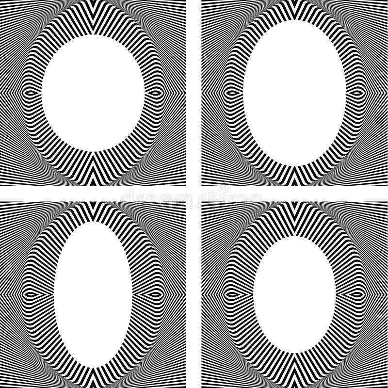 Reeks modieuze ovale kaders in op kunstontwerp. stock illustratie