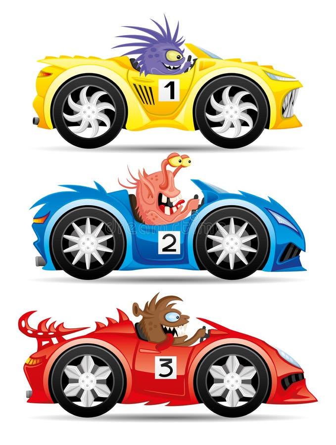 Reeks monsters in raceauto's royalty-vrije illustratie