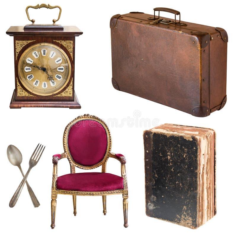 Reeks mooie antieke punten, omlijstingen, meubilair, tafelzilver retro wijnoogst Ge?soleerdj op witte achtergrond stock foto
