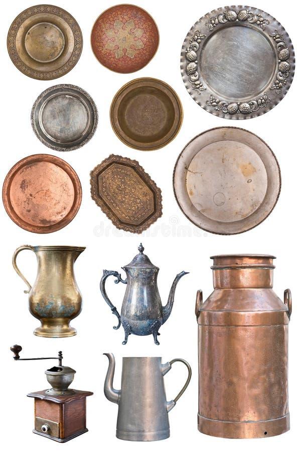 Reeks mooie antieke schotels retro wijnoogst Ge?soleerdj op witte achtergrond stock afbeeldingen