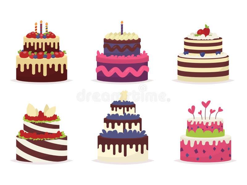 Reeks mooie cakes voor verjaardagen, huwelijken, verjaardagen vector illustratie