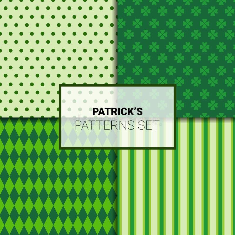 Reeks Mooie Groene Achtergronden voor St Patricks Dag Naadloze Patronen met Klaverbladeren vector illustratie