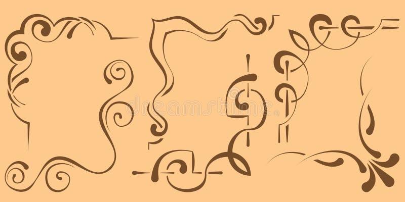 Reeks mooie hoeken voor ontwerp Zes elementen stock illustratie