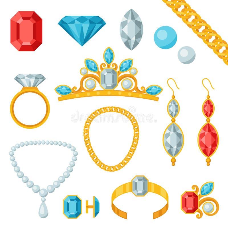 Reeks mooie juwelen en edelstenen royalty-vrije illustratie