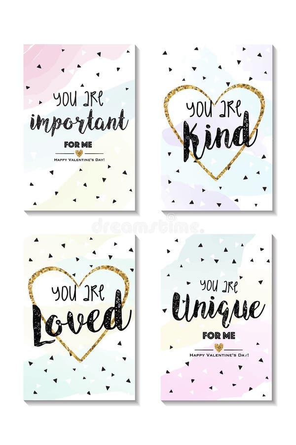 Reeks mooie kaarten van Valentine ` s met gouden hart in midden vector illustratie