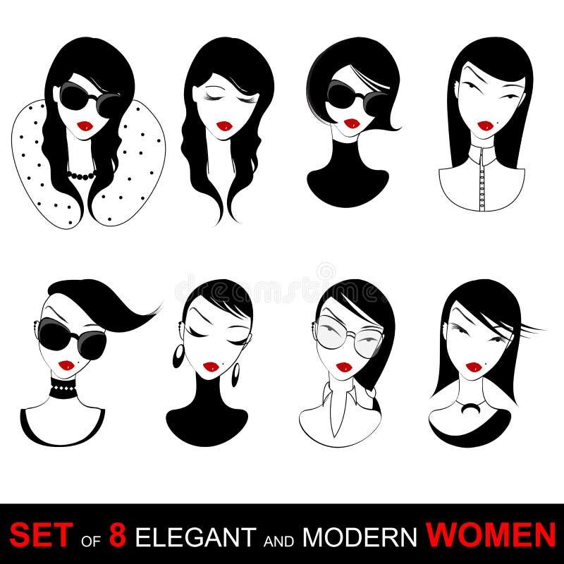 Reeks mooie meisjesgezichten stock illustratie