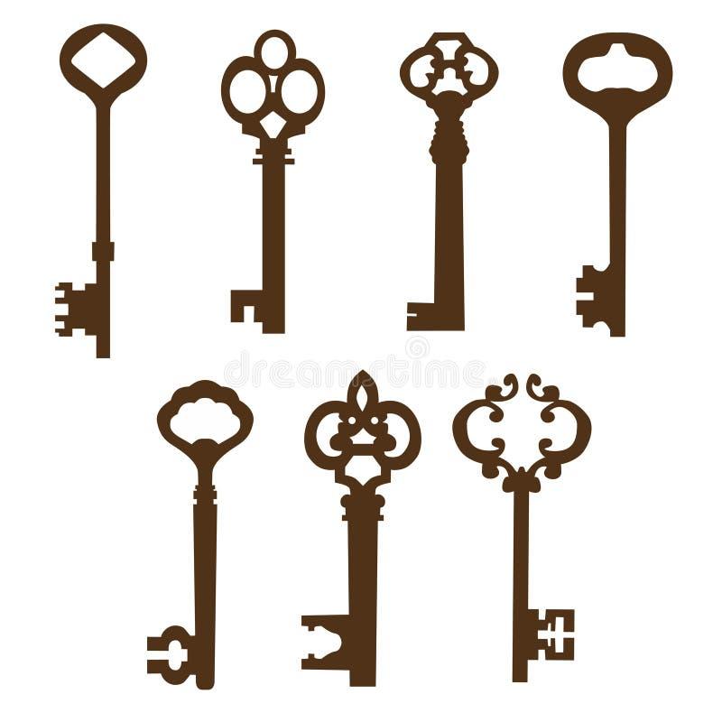 Reeks mooie oude sleutels royalty-vrije illustratie