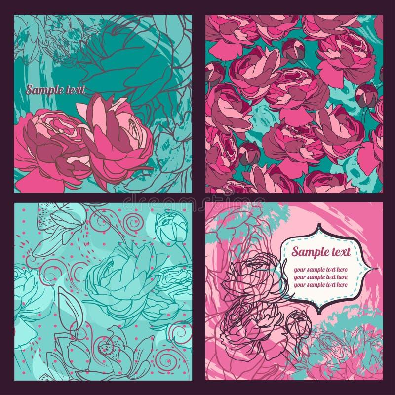 Reeks mooie rozenpatronen en kaarten stock illustratie