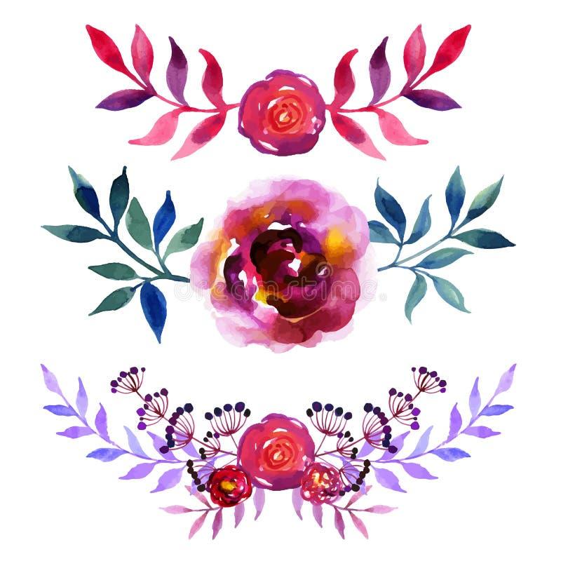 Reeks mooie waterverfbloemen stock illustratie
