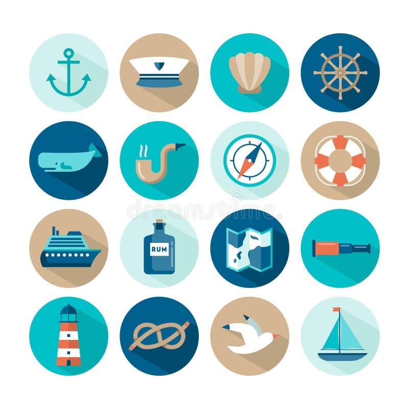 Reeks mooie zeevaart vlakke pictogrammen vector illustratie