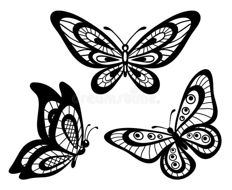 Reeks mooie zwart-witte vlinders van het guipurekant stock illustratie