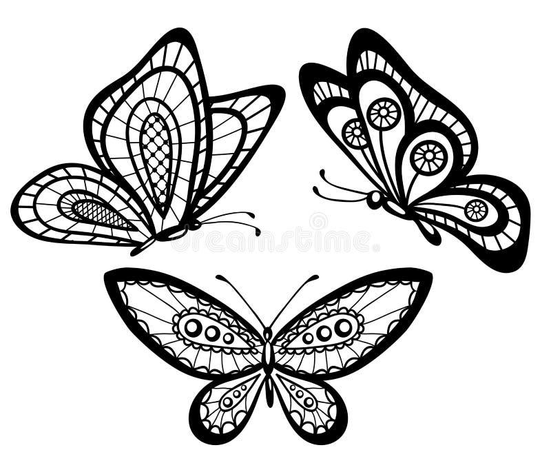 Reeks mooie zwart-witte guipurevlinders vector illustratie