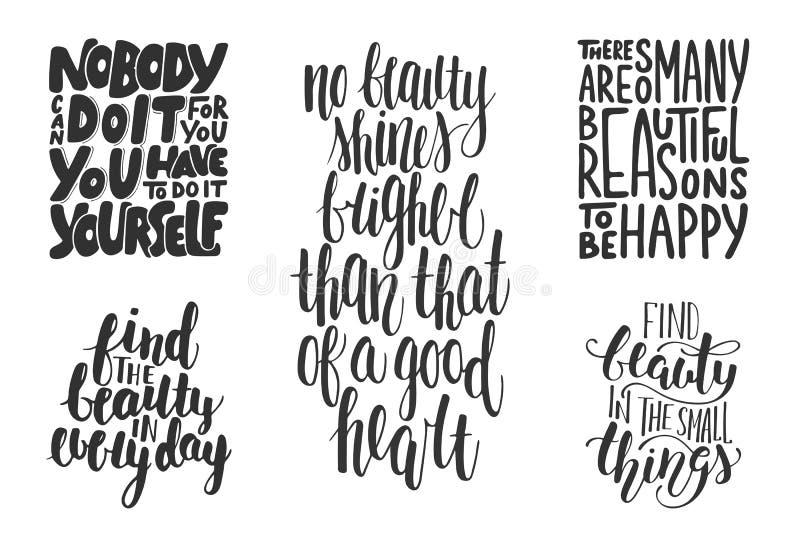Reeks motieven en inspirational vectorhand getrokken unieke kaarten van de typografiegroet, decoratie, malplaatje, drukken, banne royalty-vrije illustratie