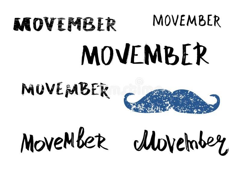 Reeks Movember-hand het van letters voorzien uitdrukkingen met snor Vector illustratie vector illustratie