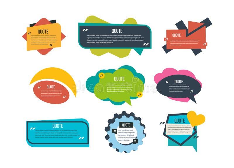 Reeks multi-colored citaten van tekstmalplaatjes, diverse vormen, informatie, tekst royalty-vrije illustratie