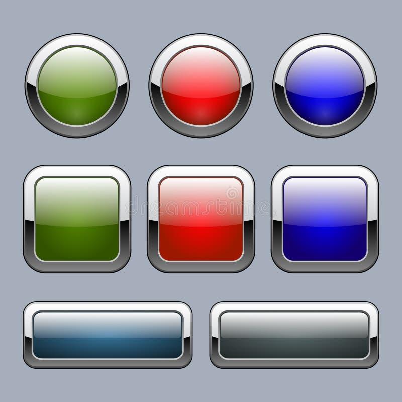 Reeks multicolored knopen voor Webelementen Vector illustratie stock illustratie