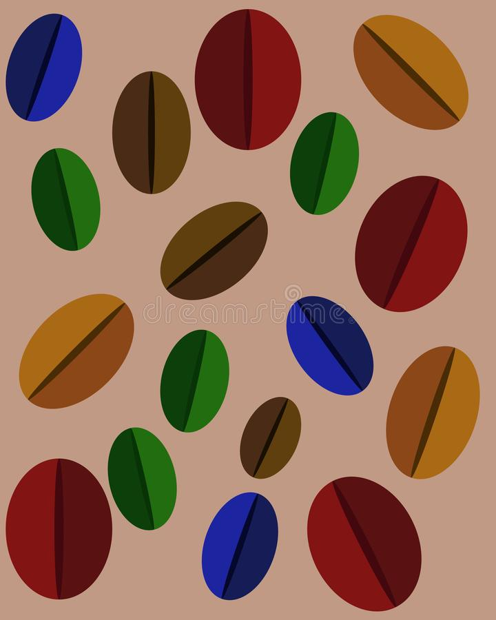 Reeks multicolored koffiebonen stock illustratie