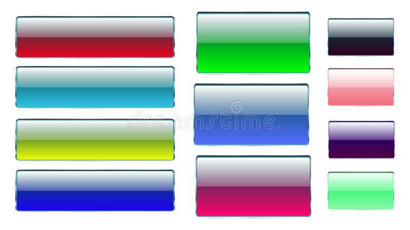 Reeks multicolored rechthoekige en vierkante glas transparante kleurrijke heldere mooie vectorknopen met zilveren metaalkader F stock illustratie
